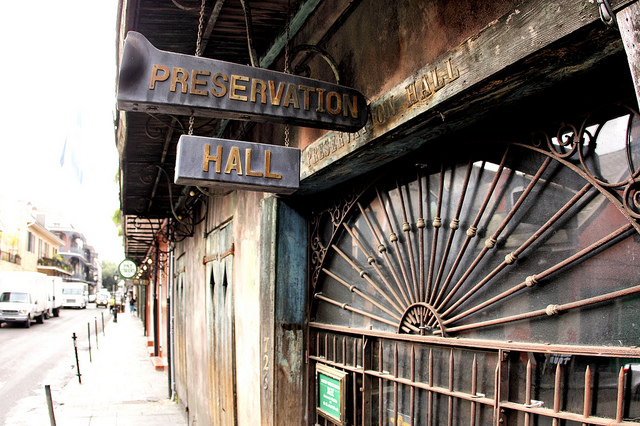 The best place to listen to traditional New Orleans jazz music in the French Quarter is Preservation Hall. (Photo via Flickr user Phil Roeder)