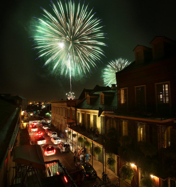 Watch New Year's Eve fireworks from a different vantage point on the balcony at Bourbon Vieux in the French Quarter of New Orleans. (Photo via theodysseyonline.com)