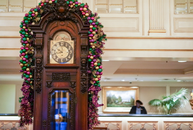 As you arrive to Hotel Monteleone for Mardi Gras, you'll be greeted by festive decorations.