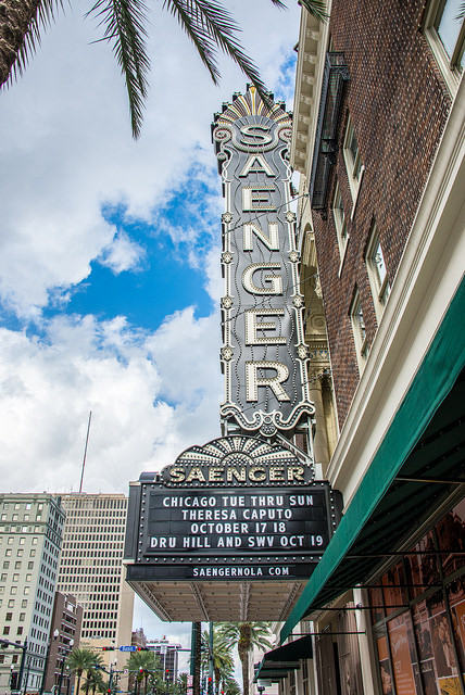 """As """"The Crown Jewel of Canal Street,"""" the Saenger Theatre has earned its place in New Orleans history. (Photo courtesy Kent Kanouse, via Flickr)"""