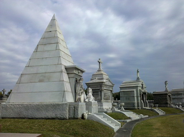 "Metairie Cemetery includes many interesting sites, including a pyramid shaped tomb and the ""Weeping Angel"" statue. (Photo via Flickr)"