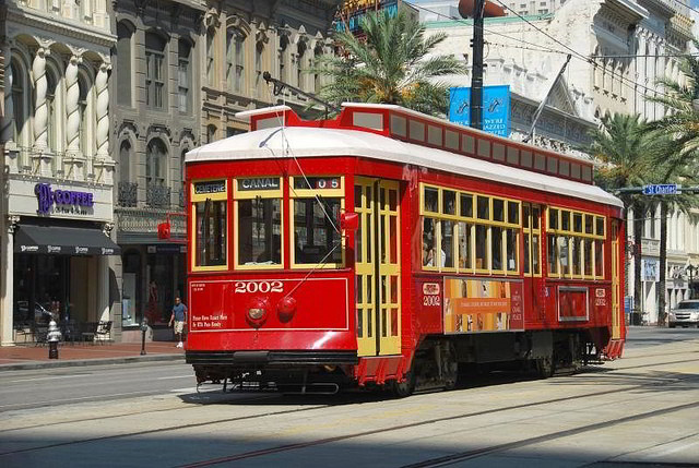 Catch one of the famous New Orleans streetcars on Canal Street. (Photo courtesy via Flickr user faungg's photos.)