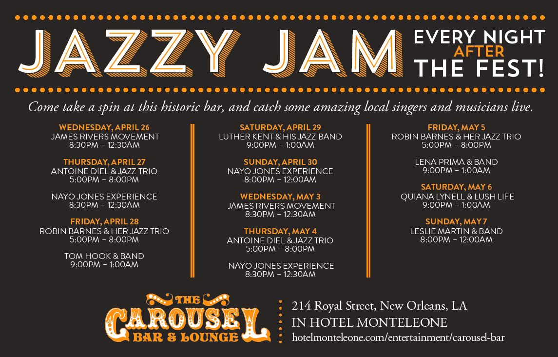 Jazzy Jam: Live music at Hotel Monteleone after Jazz Fest