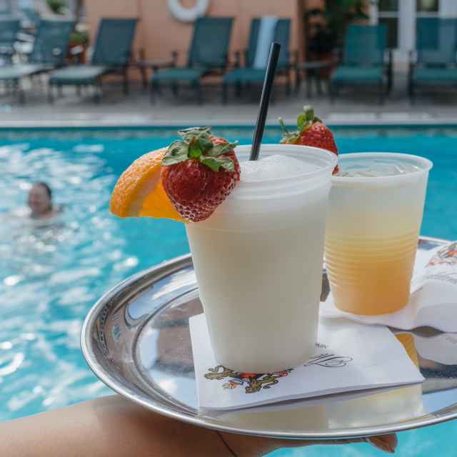 Take in views of downtown New Orleans while you sip a frozen cocktail at Hotel Monteleone's rooftop pool.