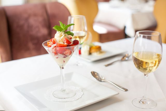 Indulge in our Strawberries Romanoff Martini with Grand Marnier Anglaise as part of our COOLinary dinner special.