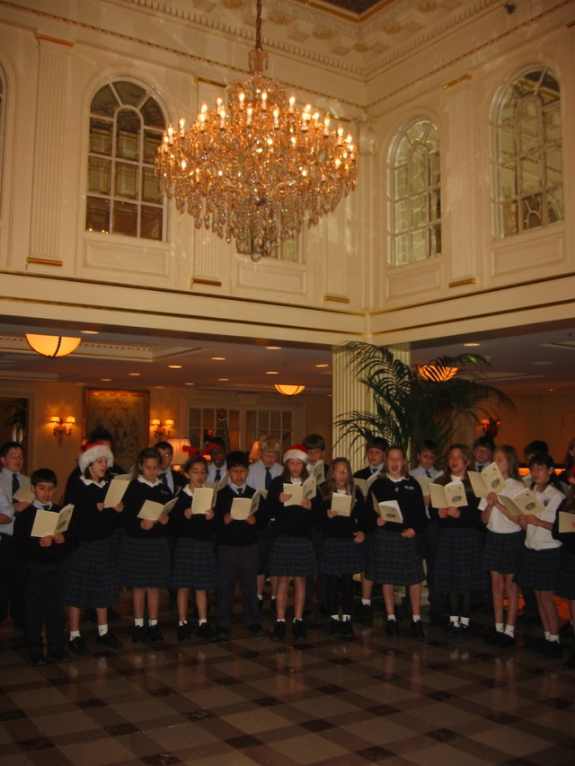 Throughout the month of December local school choirs perform in the lobby of the Hotel Monteleone.