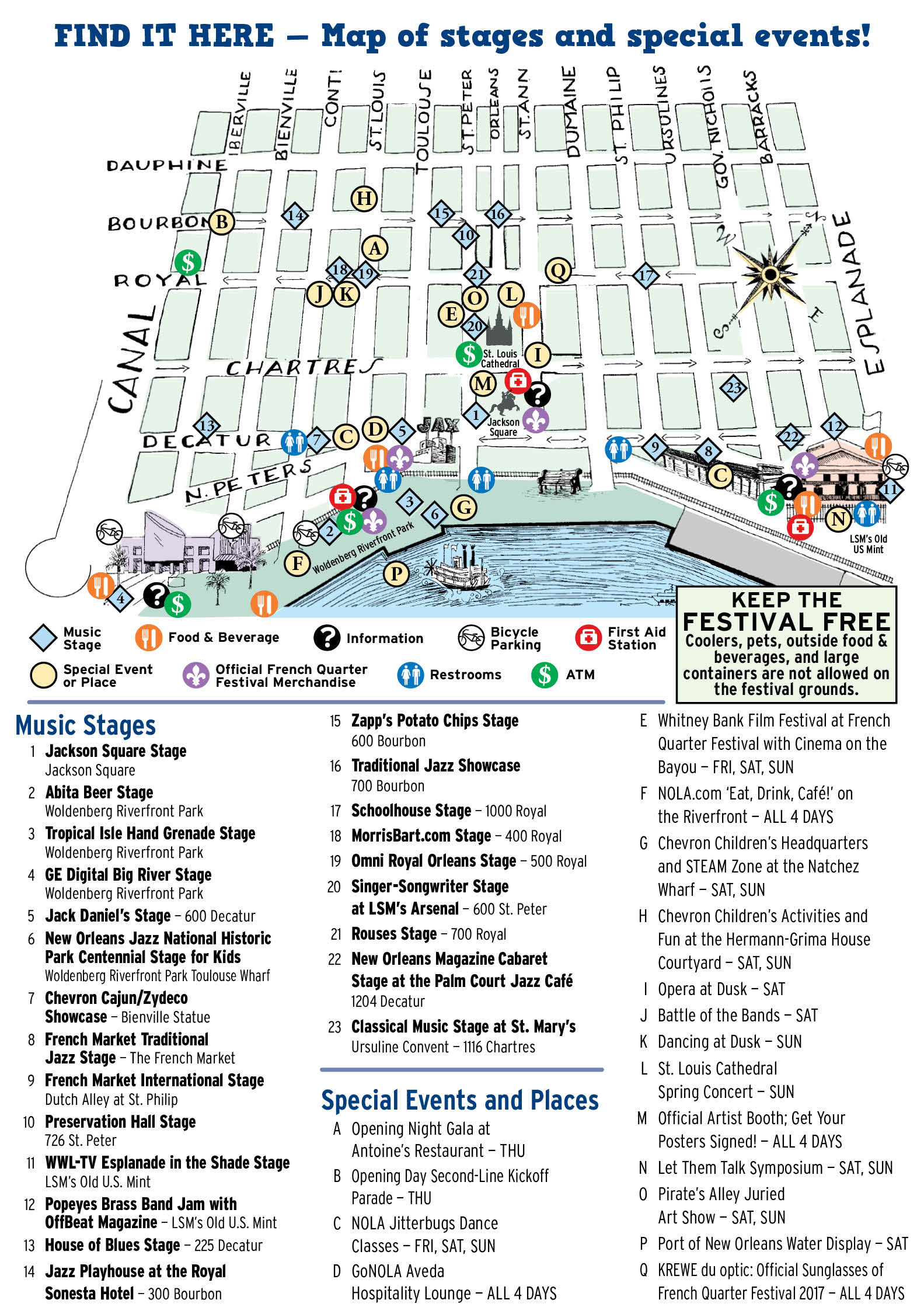 Hotel Monteleone is located in the heart of all the French Quarter Fest action. 2017 map courtesy French Quarter Festival.
