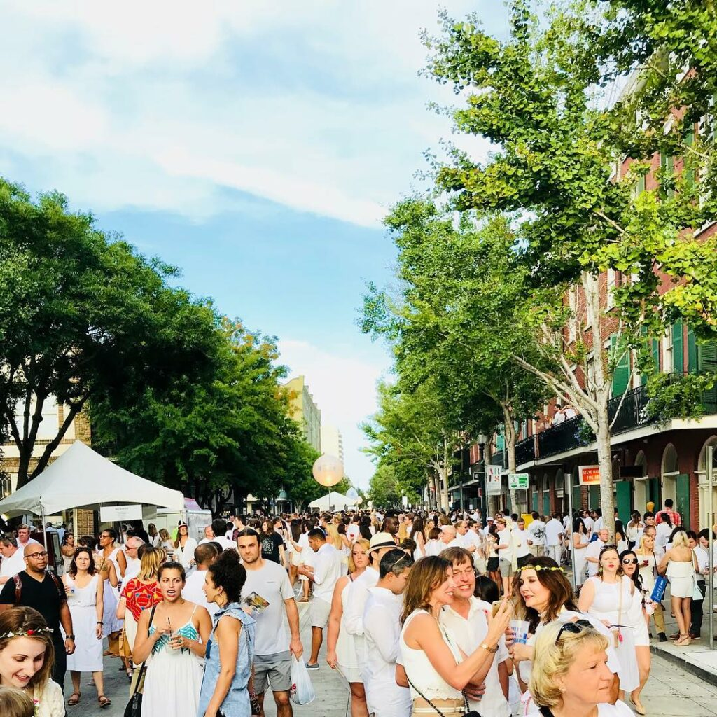 Whitney White Linen Night is a free block party every August in downtown New Orleans mixing art and entertainment.