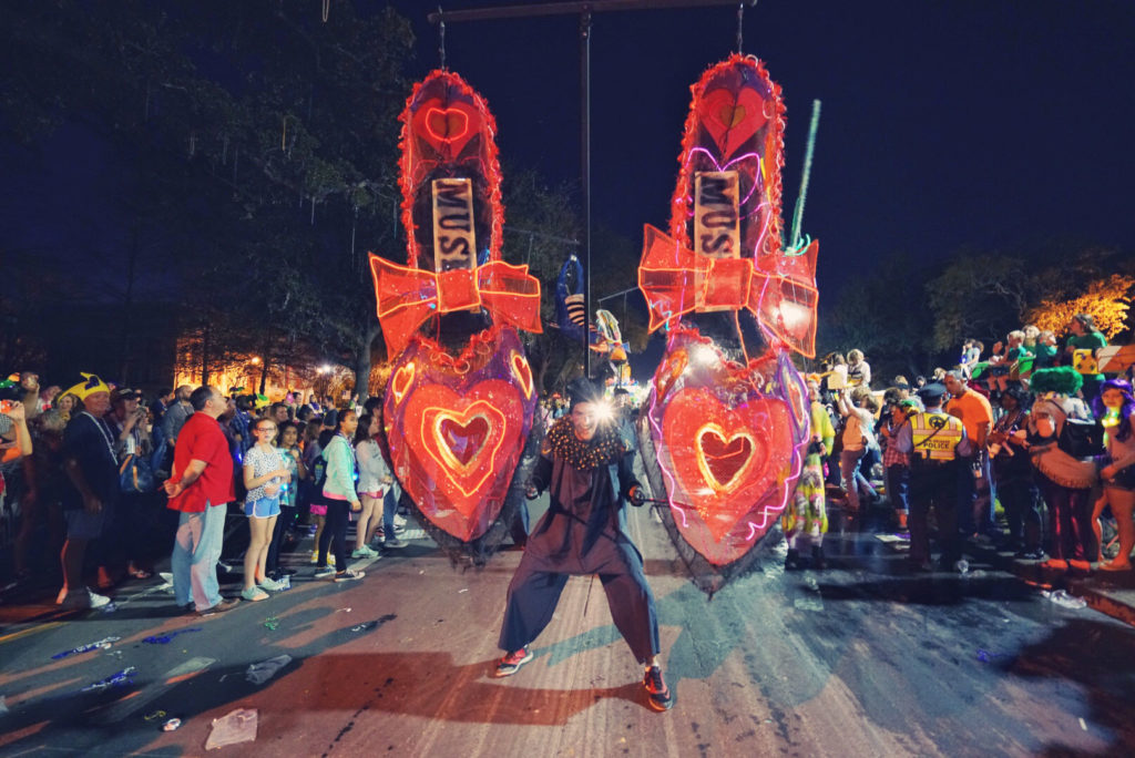 The Krewe of Muses Parade is a favorite event of the Carnival season, with eye-catching floats that make it a must-see event.