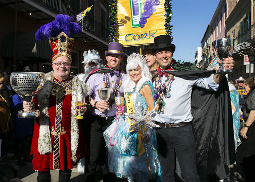 The krewe of Cork on parade in the French Quarter