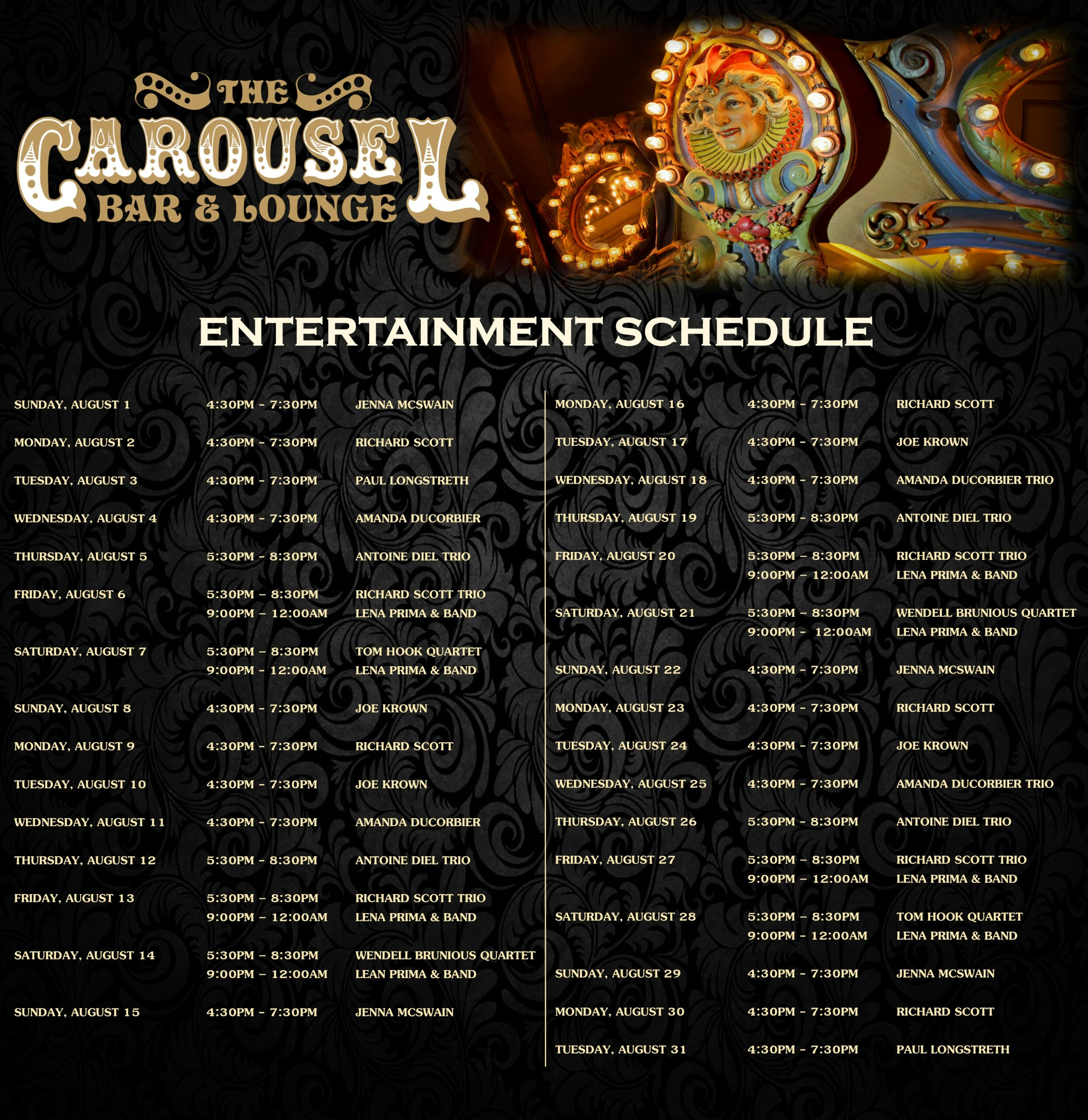 Entertainment Schedule and Performer List for July at Hotel Monteleone