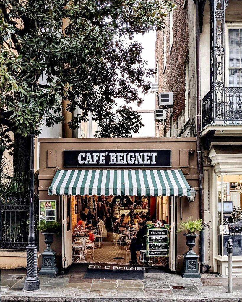 Cafe Beignet, a beloved NOLA cafe serving beignets on Royal Street in the French Quarter.